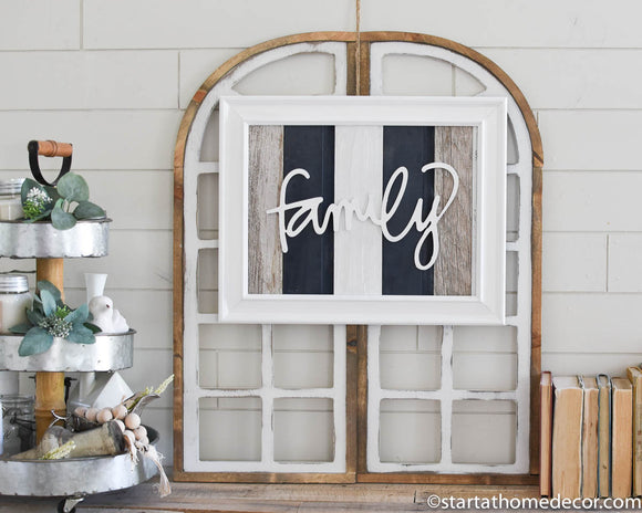 Reclaimed Wood Navy Family Sign -May Restock
