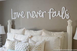 Love Never Fails Word Cutout | MDF word sign | Typography | Start at Home Decor
