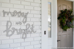 Merry and Bright Typography Word Cutout | MDF word sign | Typography | Start at Home Decor
