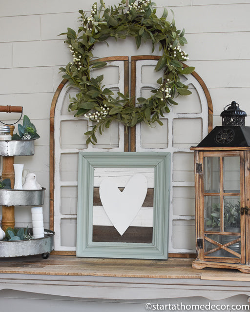 Reclaimed Wood Turquoise and White Heart Sign