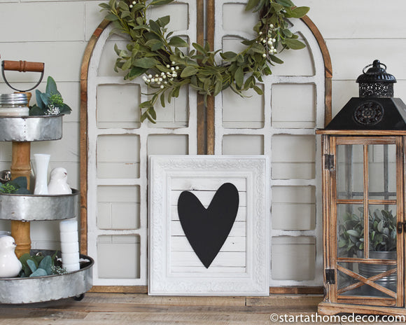 Reclaimed Wood Black and White Heart Sign