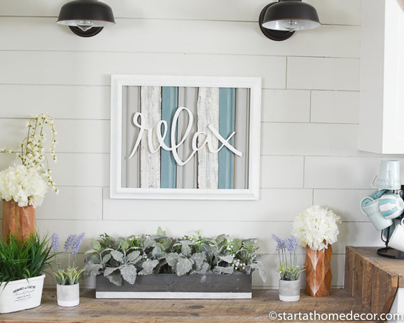 Reclaimed Wood Blue Relax Sign