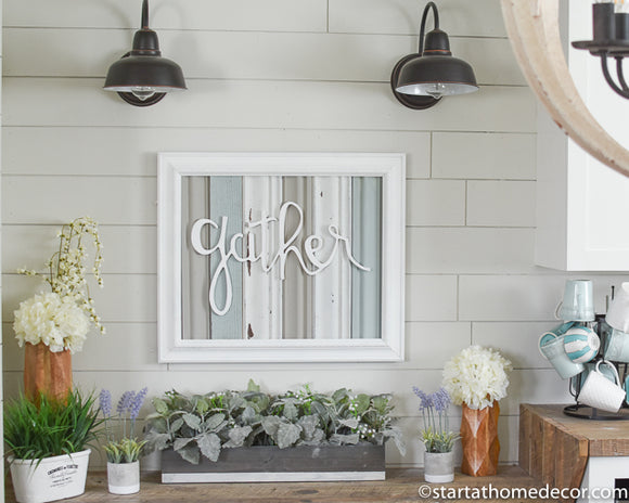 Reclaimed Wood Blue and Grey Gather Sign