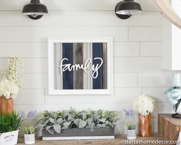 Reclaimed Wood Navy Family Sign