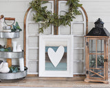 Reclaimed Wood Blue and Turquoise Heart Sign