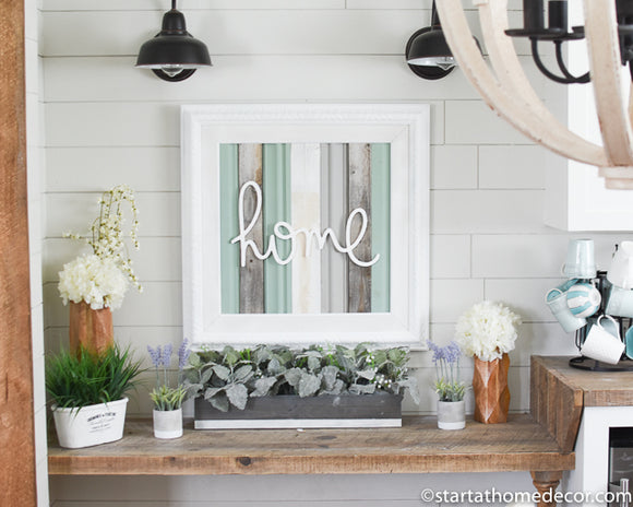 Reclaimed Wood Turquoise Home Sign