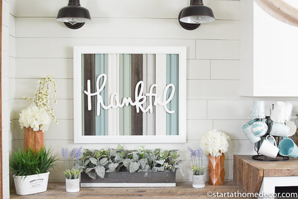 Reclaimed Wood Blue and Grey Thankful Sign