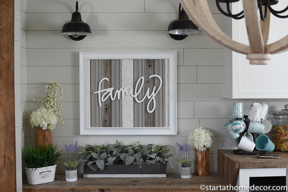 Reclaimed Wood Grey Family Sign