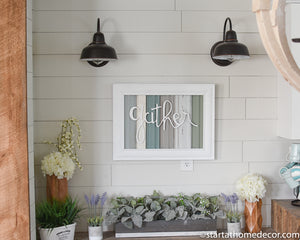 Reclaimed Wood Blue, teal  and Grey Gather Sign