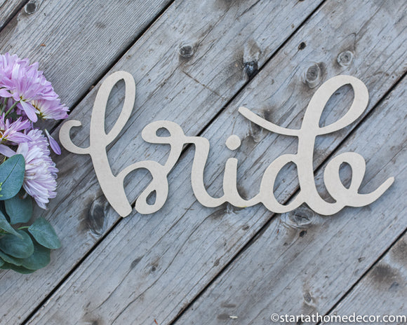 Handwritten Bride MDF word cutout