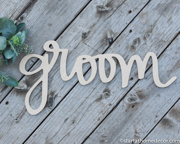 Handwritten Groom MDF word cutout