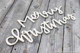 Merry Christmas Handwritten MDF Word Cutout | Typography sign | Start at Home | Door Hanger | Fall