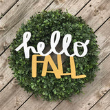 Hello Fall Handwritten MDF Word Cutout | Typography sign | Start at Home | Door Hanger | Fall