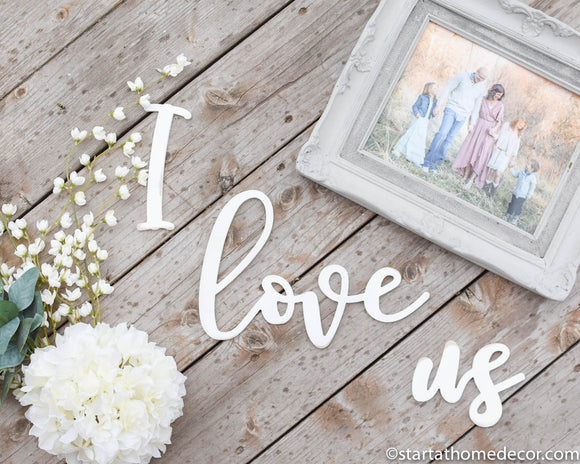 I Love Us Typography Word Cutout | MDF word sign | Typography | Start at Home Decor