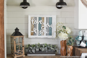 Reclaimed Wood blue/grey Love You More Sign