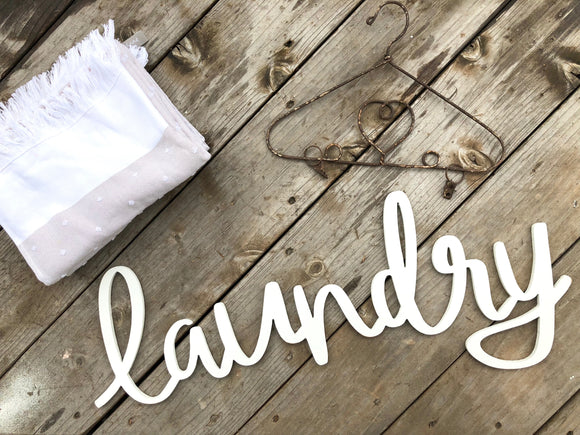 Laundry Typography Word Cutout | MDF word sign | Typography | Start at Home Decor
