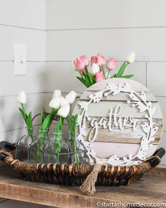 Reclaimed Wood Round with Wreath Gather cutout