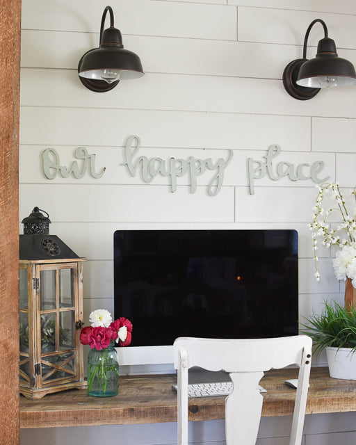Our Happy Place Typography Word Cutout | MDF word sign | Typography | Start at Home Decor