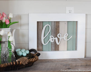Reclaimed Wood Turquoise Love Sign