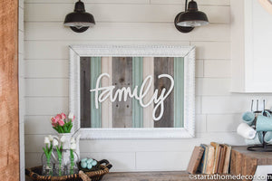Large Reclaimed Wood Turquoise Family Sign