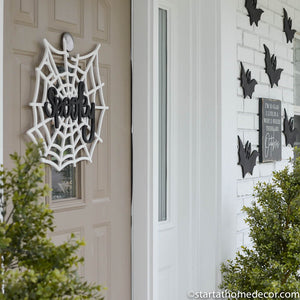 Handwritten Halloween Door Hanger | Halloween | Boo | Wicked | Spooky | Spider Web | Typography