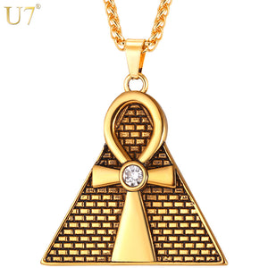 Ancient Pyramid Ankh Egyptian Cross Pendant & Chain Necklace Men/Women Stainless Steel Rhinestone Necklaces Jewelry P1097