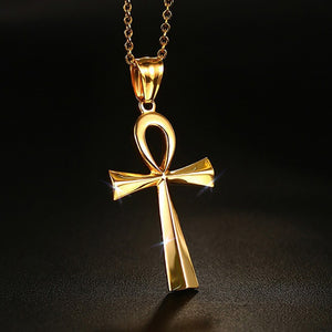 Mystic Egyptian ANKH Cross Charm Pendant Necklace for Woman Silver Gold Tone Stainless Steel Egypt Jewelry Great Gift  20inch
