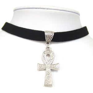 "Adjustable Black 10mm Flat Faux Suede Cord Egypt Ankh Cross Charm 13"" Choker Necklace"