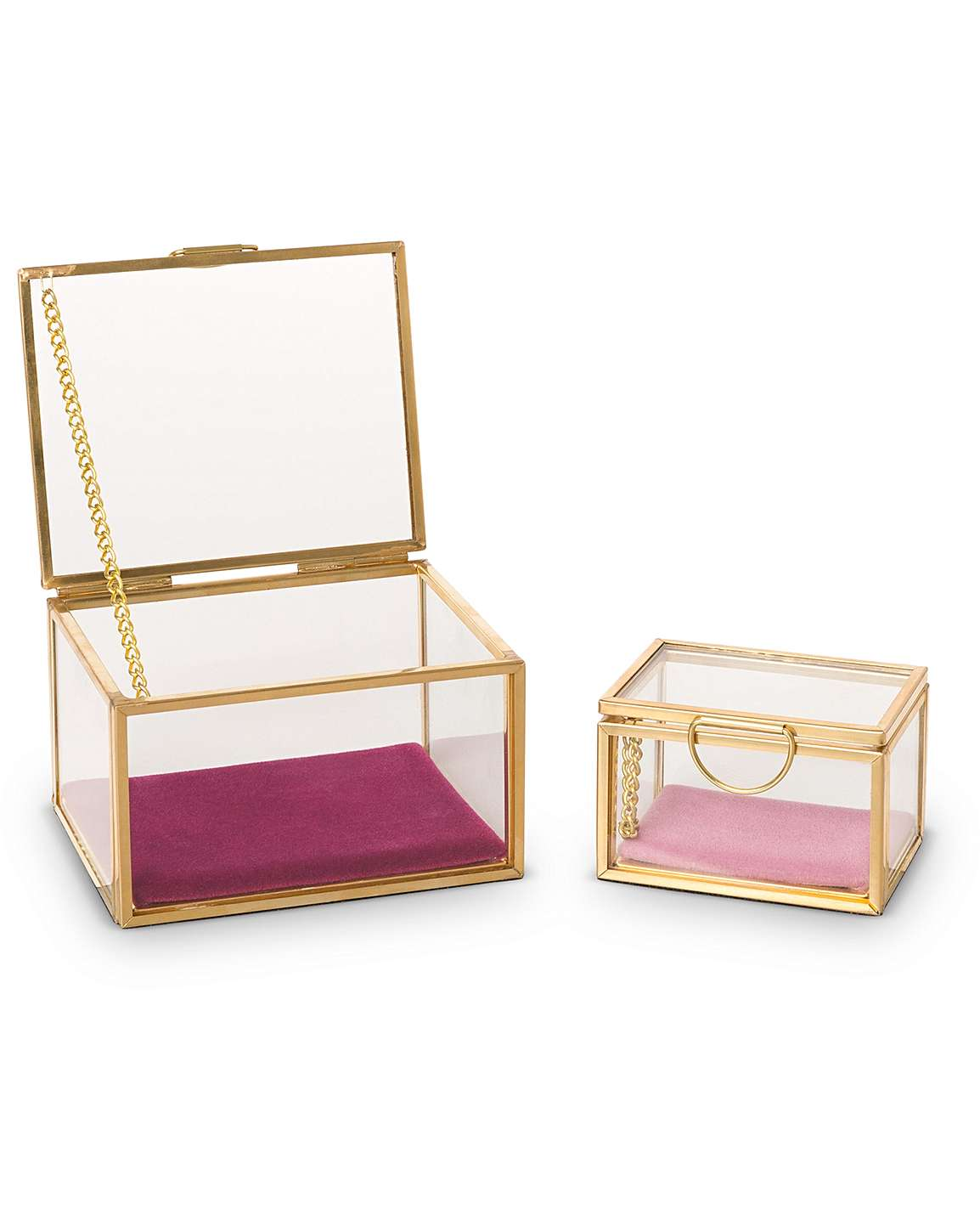 Set of Two Glass Jewelry Boxes - Cocus Pocus