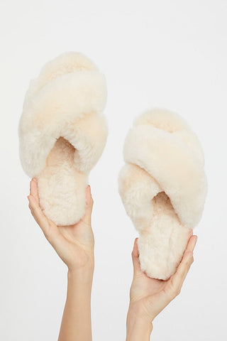 Faux-Fur Slipper Slides