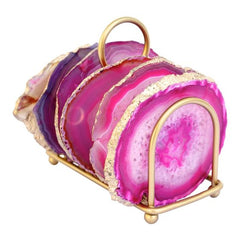 Pink and Gold Agate Coasters (set of three) - Cocus Pocus