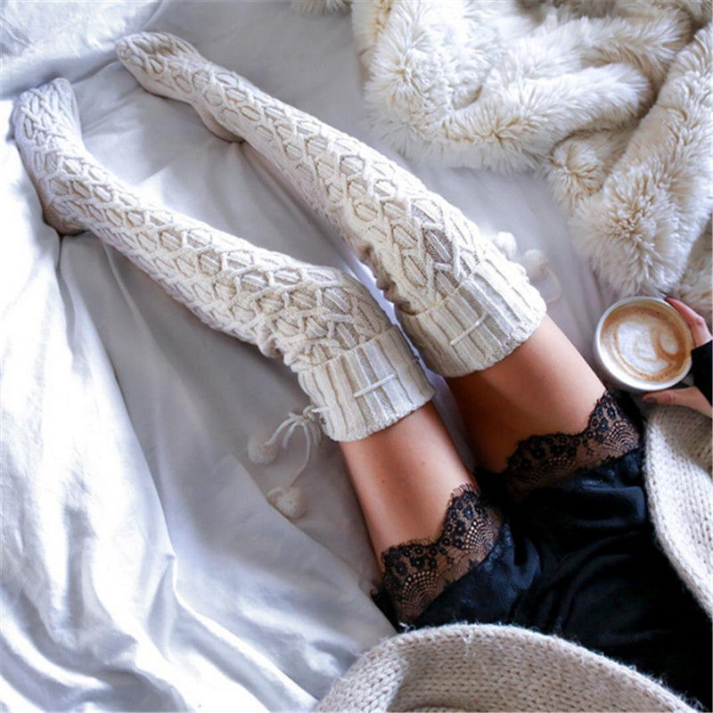 Cable Knit Over-The-Knee Socks - Cocus Pocus
