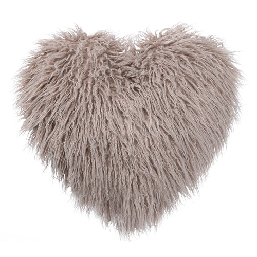 Faux Fur Heart Shaped Pillow