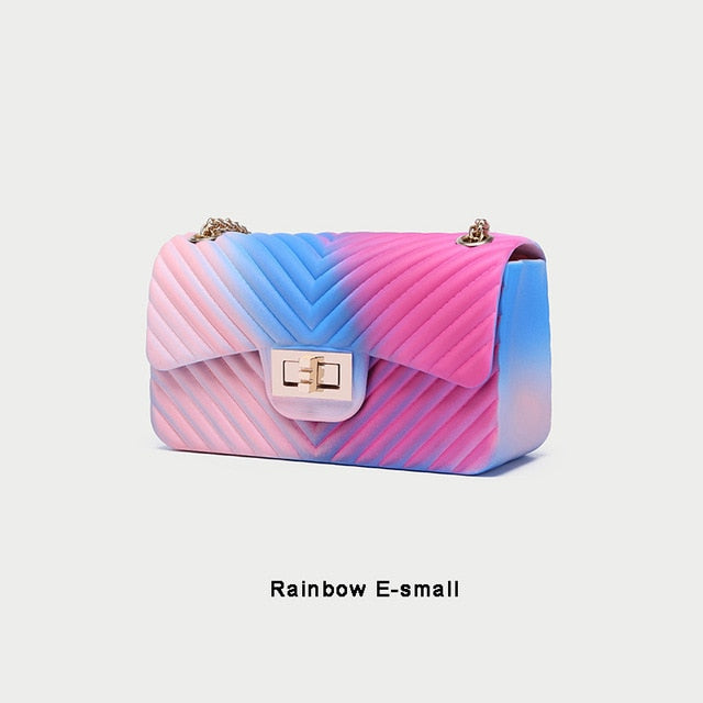 Rainbow Flap Top Handbag