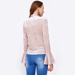 Bow Tied Neck Flare Sleeve Crushed Velvet Blouse - Cocus Pocus