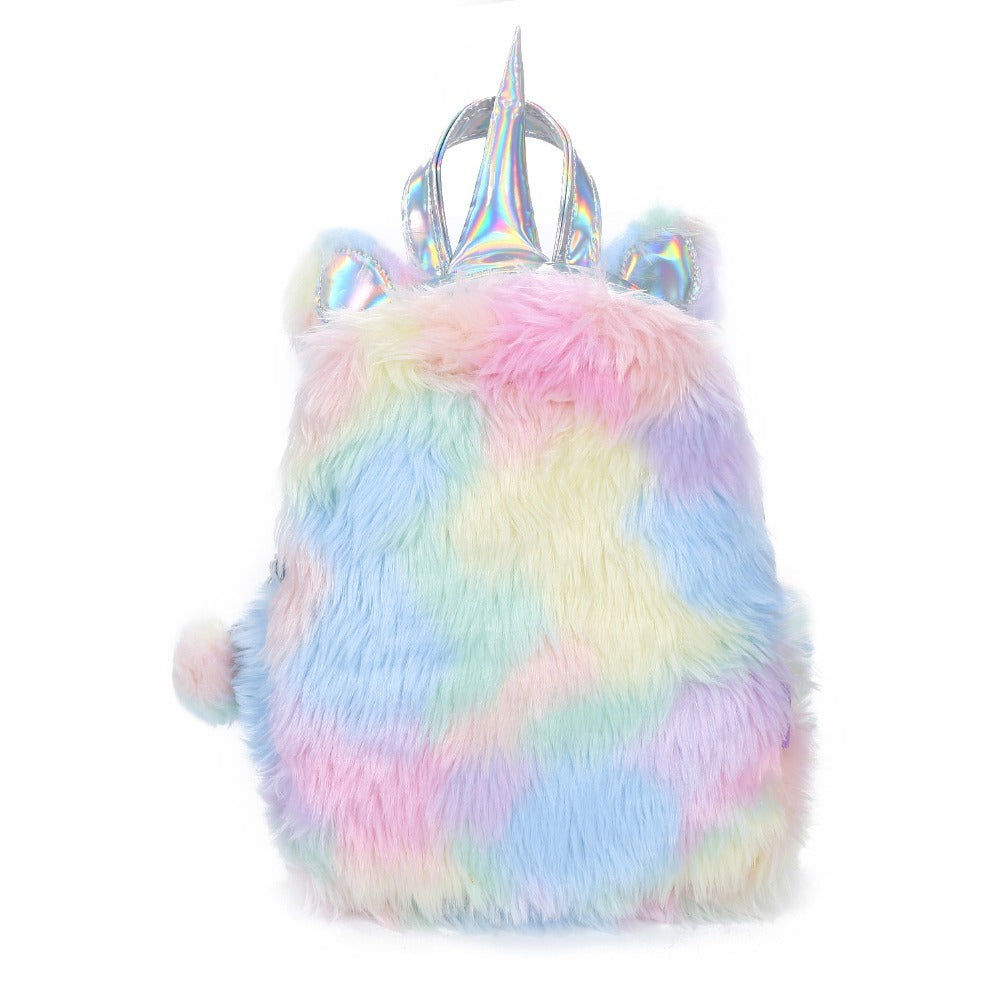 Unicorn Rainbow Faux Fur Backpack - Cocus Pocus