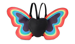 Rainbow Butterfly Wings Heart Backpack - Cocus Pocus