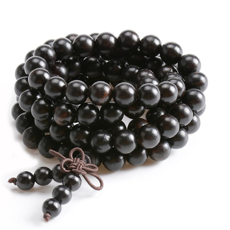 Natural Ebony Tibetan Buddha Mala Bracelet wooden 108 Bead necklace Black Charm Multilayer Bracelets For Women Men Jewelry Gift - Cocus Pocus
