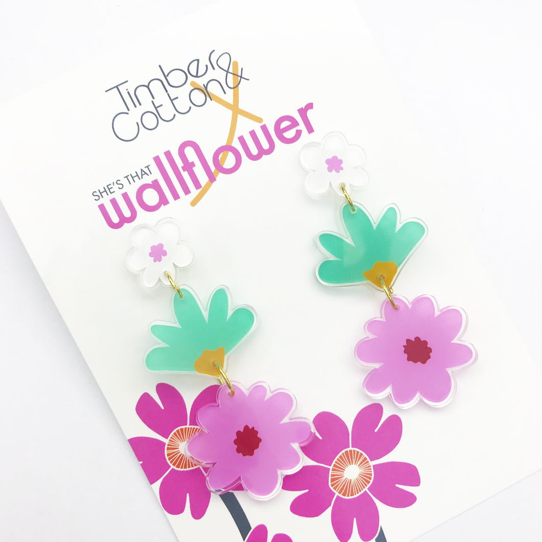 Art Floral Statement Earrings