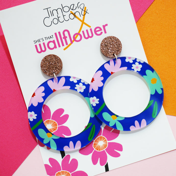 Art Floral Hoop Earrings