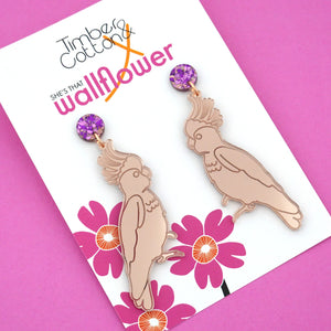 Rosie the Rose Gold Cockatoo Earrings