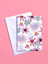 Floral Cats A6 Greeting Card