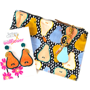 Pears on Spotty Dots Clutch Purse