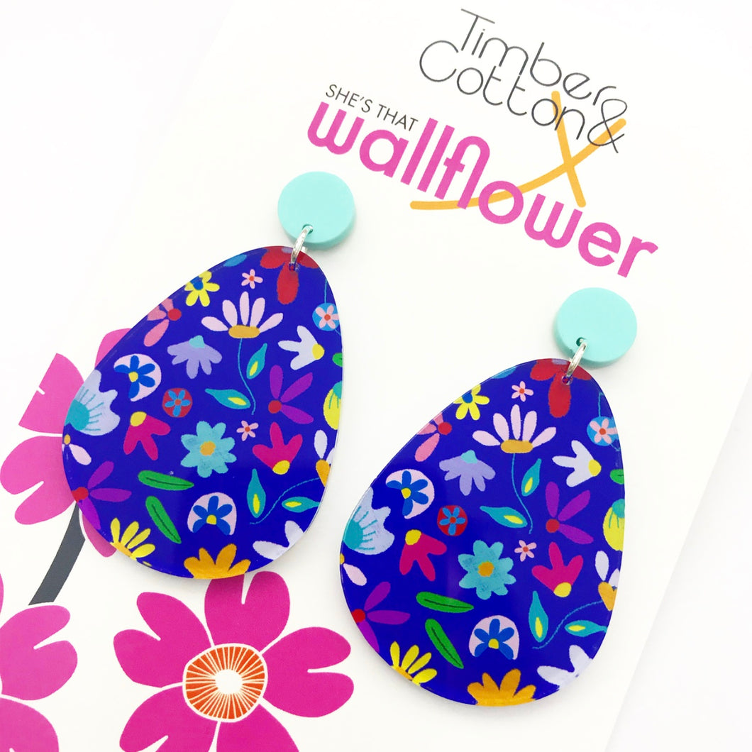 Scribble Me Floral Oversized Earrings
