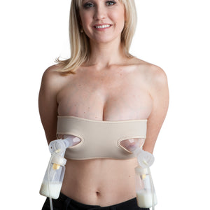 Pump Strap Hands-Free Pumping & Nursing Bra – Pump More in Less Time - Fits All Moms, Adjusts with Body (One Size, Cup A-DD, Beige)
