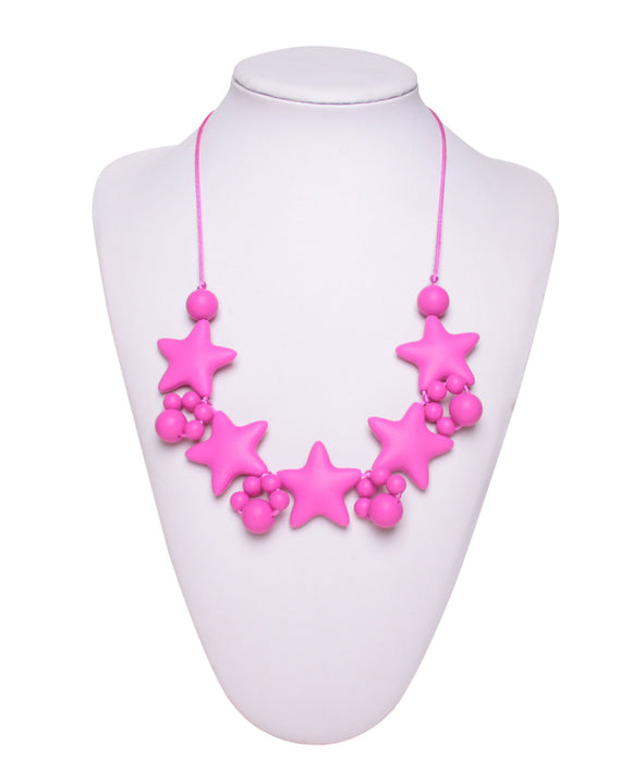 Nursing to Teething Necklace - Pink Stars