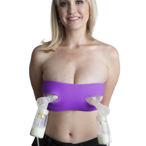 Pump Strap HandsFree Pumping & Nursing Bra – Pump More in Less Time - Fits All Moms, Purple