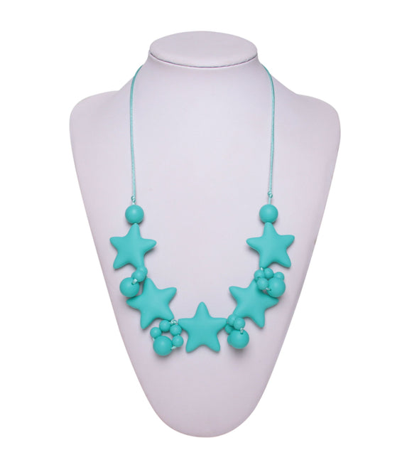 Nursing to Teething Necklace - Turquoise Stars