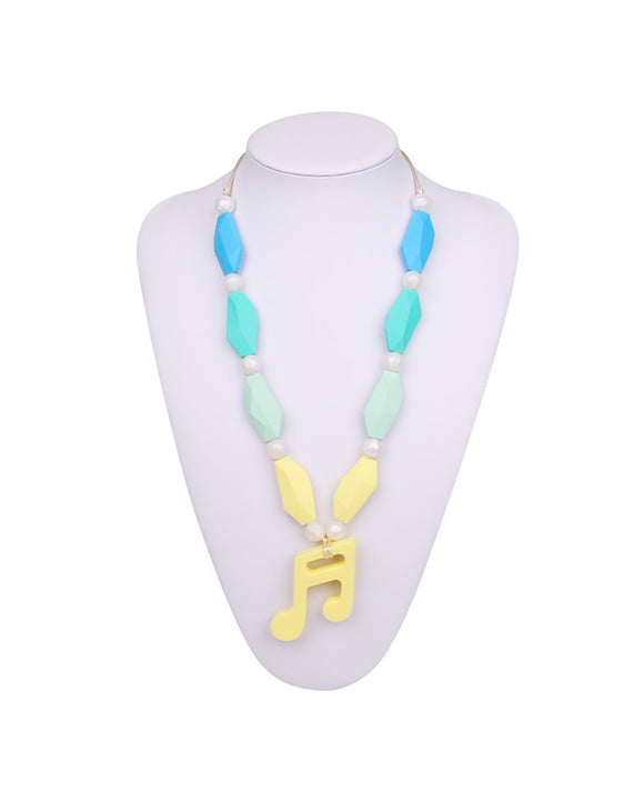 Nursing to Teething Necklace - Yellow Music Note