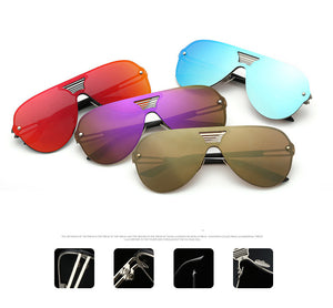 Rimless Alloy Frame Aviator Mirror Sunglasses
